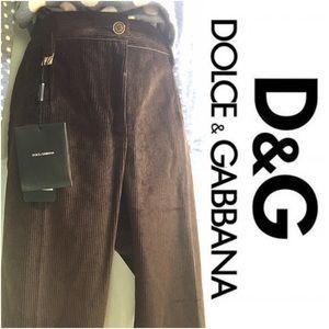 Women's Dolce & Gabbana Brown Corduroy Trousers,10